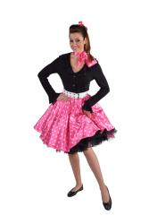 Dames Rok Stip - Rock 'n Roll - roze/wit