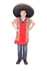 Mexicaanse Poncho voor Kinderen - rood
