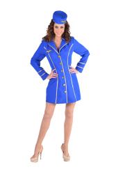 Stewardess Dameskostuum - blauw