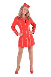 Stewardess Dameskostuum - rood