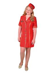 Stewardess Bel Air Kostuum voor Kinderen - rood