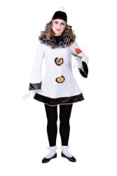 Klasieke Clown Pierrot Dameskostuum - zwart/wit