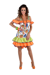 Damesjurk Rio Danseressen - fluor - groen/oranje