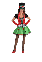 Damesjurk Kaartspeler Casino - groen/rood