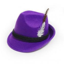 Tiroler hoed met veer paars