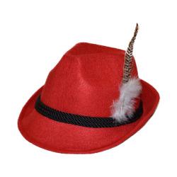 Tiroler hoed met veer rood