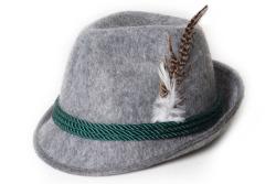 Tiroler hoed met veer grijs