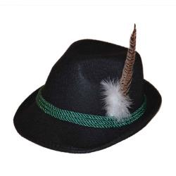 Tiroler hoed met veer zwart