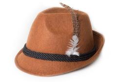 Tiroler hoed met veer bruin