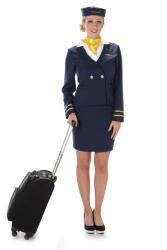 Kostuum stewardess marineblauw