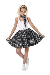 Zwarte polka rok en stropdas met witte stippen