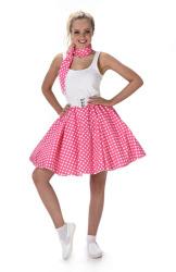 Roze polka rok en stropdas met witte stippen