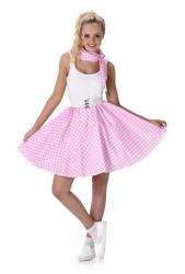 Lichtroze polka rok en stropdas met witte stippen