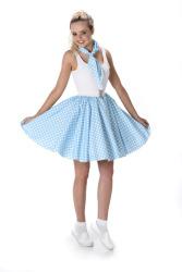 Turquoise polka rok en stropdas met witte stippen