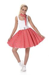 Rode polka rok en stropdas met witte stippen