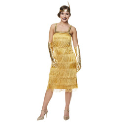 Charleston jurk met franjes goud