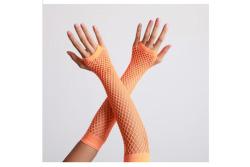 Vingerloze handschoenen lange visnet Neon Orange