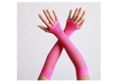 Vingerloze handschoenen lange visnet Neon Roze