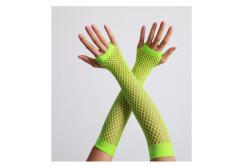 Vingerloze handschoenen lange visnet Neon Geel