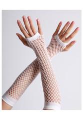 Vingerloze handschoenen lange visnet Wit