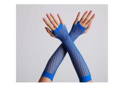Vingerloze handschoenen lange visnet Blauw