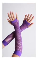 Vingerloze handschoenen lange visnet Paars