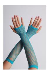 Vingerloze handschoenen lange visnet Turqoise