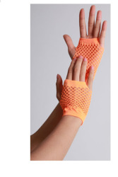 Vingerloze handschoenen kort visnet Neon Orange