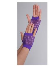 Vingerloze handschoenen kort visnet Paars