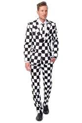 Checked Black White Heren Kostuum