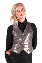 Paillettenvest dames zilver