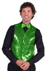 Paillettenvest groen voor heren