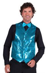Paillettenvest turquoise voor heren