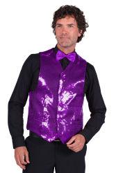 Paillettenvest paars voor heren