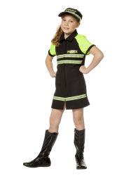 Politie Kostuum Meisje - zwart/neon geel