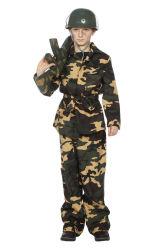 Kinderkostuum Militair Camouflage - groen
