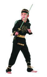 Kinderkostuum Ninja - zwart/goud