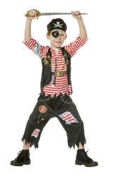 Kinderkostuum Piraat Gescheurd - zwart/rood