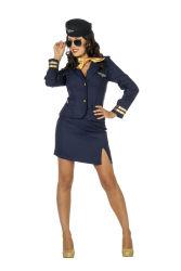 Dameskostuum Sexy Stewardess - marineblauw