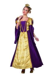 Dameskostuum Koningin Barok - goud/paars