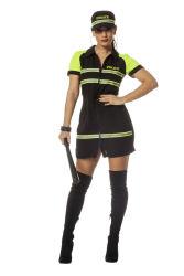 Sexy Politie Dameskostuum - zwart/neon geel