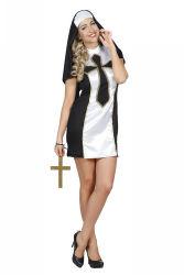 Sexy Non Satijn Dameskostuum - zwart/wit