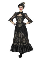 Luxe Victoriaanse Damesjurk - zwart