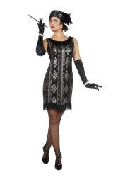 Great Gatsby Damesjurk - zwart/zilver