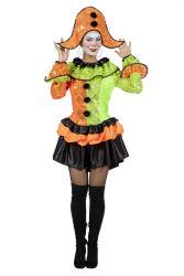 Neon Clown Dameskostuum - oranje/groen