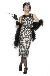 Charleston Royal Damesjurk met Pailletten - zwart/ecru