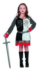 Ridder Kostuum voor Meisjes - zilver/zwart/wit
