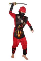 Kinderkostuum Ninja Vuur - zwart/rood