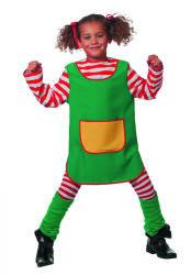 Kinderkostuum Pippi Gestreept - groen