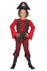 Kinderkostuum Piratenmeisje - bruin/rood